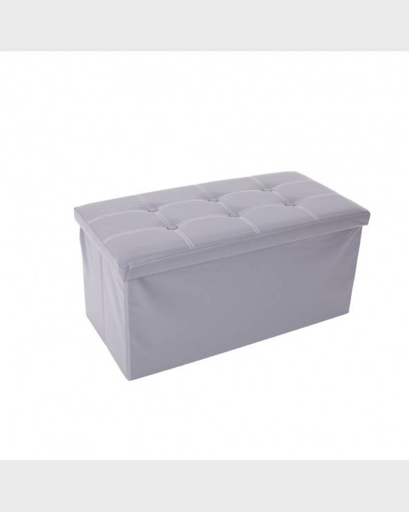 Mobili Rebecca® Pouf Coffre de rangement Banc Rectangle Gris Stokage Design Salon Sejour