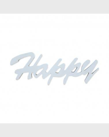"""Happy"" white decorative plate to hang - RE6320 - Mobili Rebecca®"