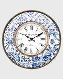 Shabby wall clock in white and blue marine style
