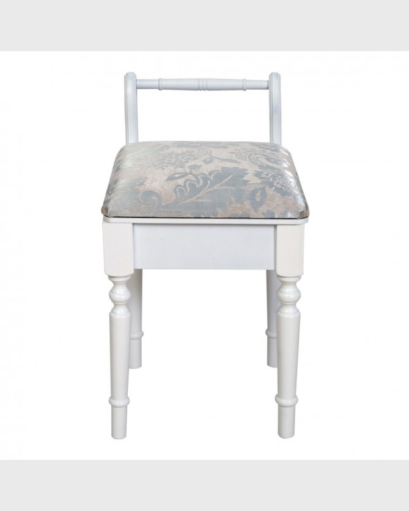 Mobili Rebecca® Stool Seat White Lined Baroque Classic Style Dressing Table Seat Piano Musicroom