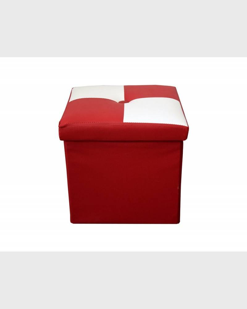 Mobili Rebecca® Pouffe Box Storage Beanbag Cube White Red Faux Leather Bedroom Living room