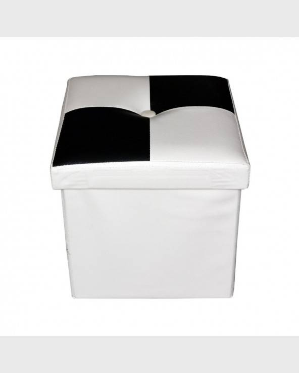Mobili Rebecca® Pouffe Ottoman Black White Faux Leather Modern Style Living Room Bedroom