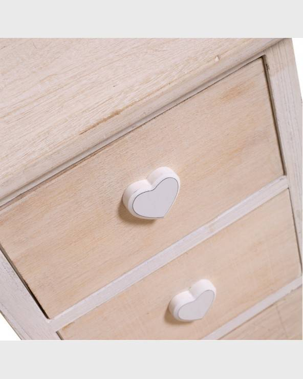 Mobili Rebecca® Bedside tables ROMANTICA Cabinet 3 Drawers Beige Shabby chic furniture