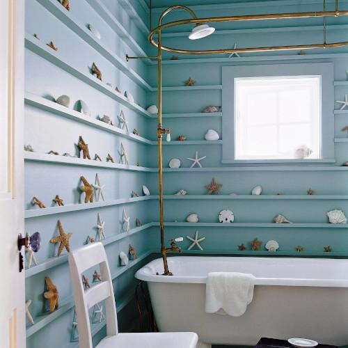 Decorazioni con conchiglie per bagno in stile mare